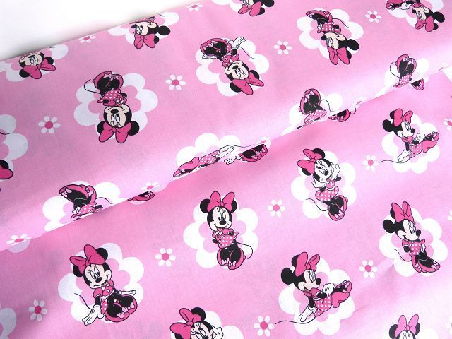 BW Minnie Maus rosa Micky Vorhangstoff Stoff Mouse Stoffknoch