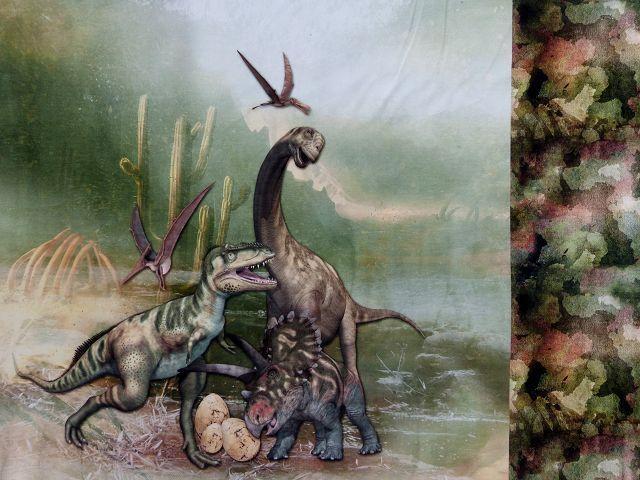 Jersey Öko Tex Panel Dinosaurier 12,90 €/m Stoff Dino Stoffknoch