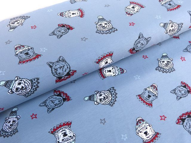 Jersey Öko Tex Winter Eisbär Hunde grau Kinder Stoff Stoffknoch