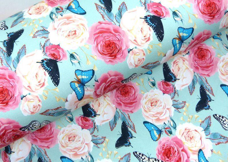 Sweat öko Tex Blumen Schmetterlinge Mint Shirt Stoff Stoffknoch