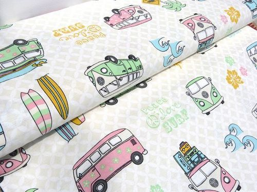 Canvas VW Bulli creme rosa