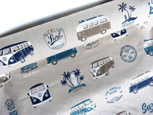 Canvas Öko Tex VW Bulli beige blau