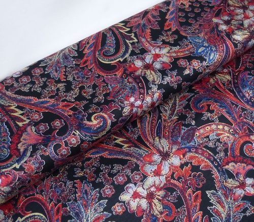 Viskose Jersey Indian Paisley rot